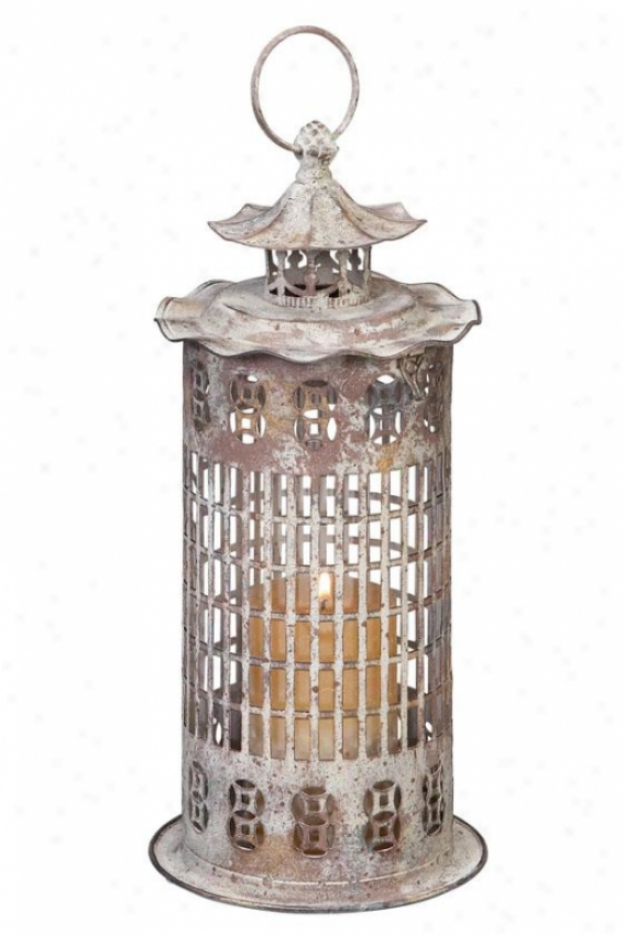 """denava Lantern - 14""""hx7""""w/glass, White"""