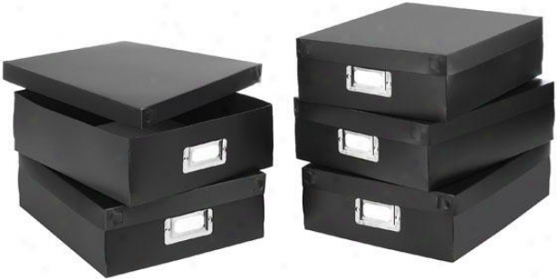 Document Boxes - Set Of 5 - Set Of 5, Black