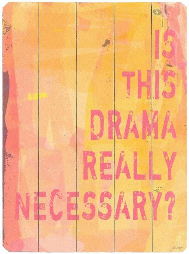 """drama Wooden Sign - 20""""hx14""""w ,Yellow"""