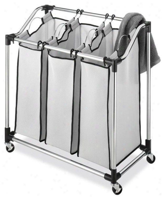 """durable Chrome Laundry Sorter - 33""""hx311""""wx16""""d, Silver Chrome"""