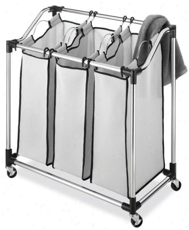 """durable Chrome Laundry Sorter - 33""""hx311""""wx16""""d, Silver Chrome"""