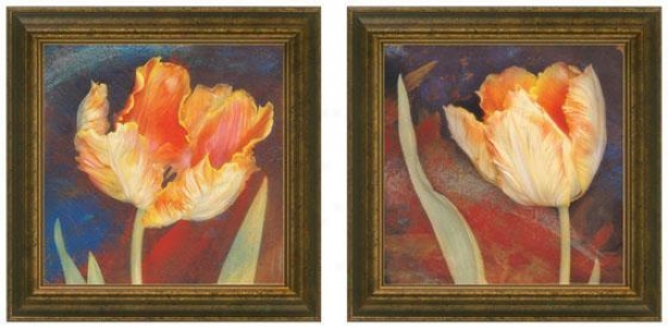Dusk Tulip Framed Wall Art - Sst Of 2 - Set Of Two, Blue
