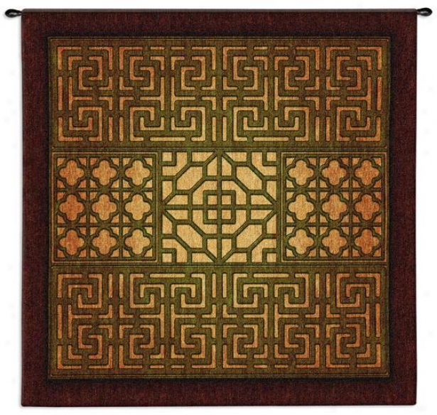 """eastern Lattice Tapestry - 53""""hx53""""w, Earth Tones"""