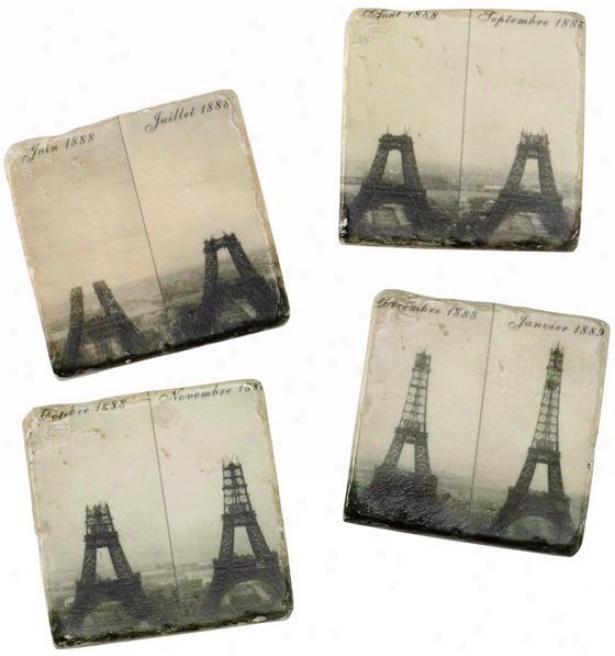 Eiffel Tower Coasters - Set Of 4 - Set Of 4, Black