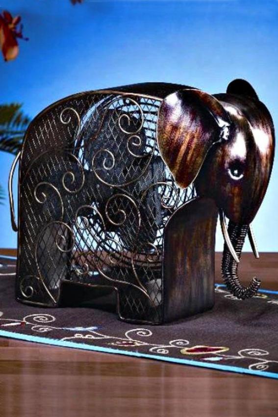 """""""elephant Figurine Fan - 13h X 8.25""""""""d, Bronze"""""""