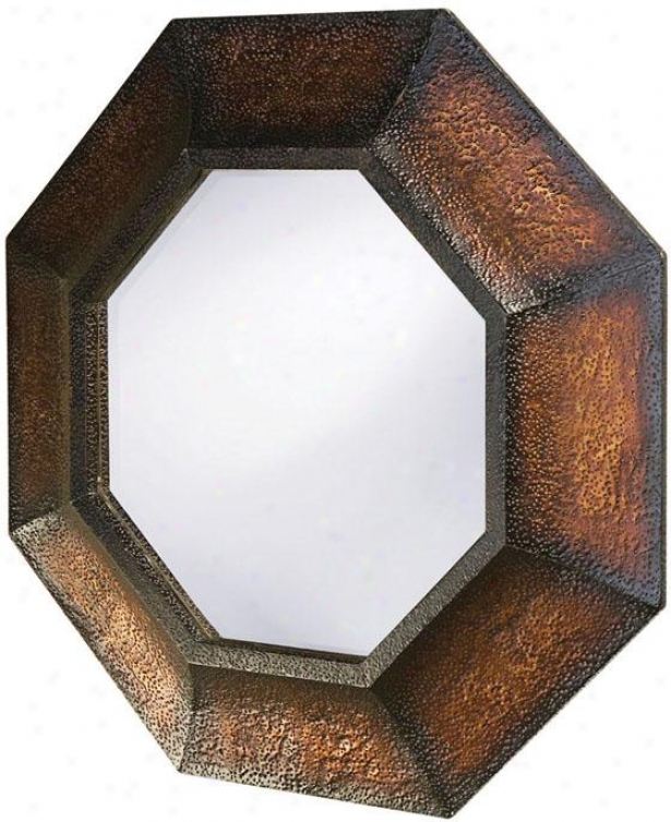 """elliott Octagon Mirror - 37""""hx37""""wx3""""d, Brown"""