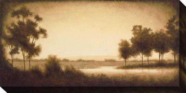 """eucalyptus Landscape I Canvas Wall Art - 48""""hx24""""w, Sepia"""