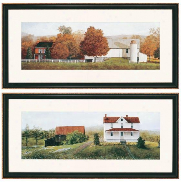 Farm Scenes Walll Art - Set Of 2 - Set Of 2, White