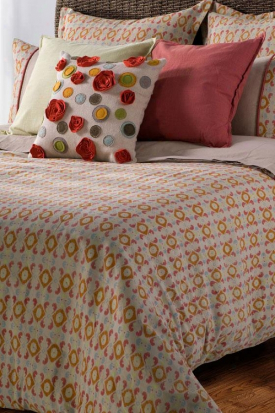 Farnsley Bedding Set - King, Beige/paaprika