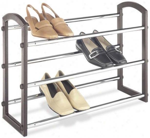 """faux Leather Expandable Shoe Rack - 18""""hx25""""w, Brown"""