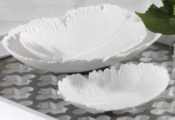 Feather-shaped Trays - Set Of 3 - Set Of 3, White