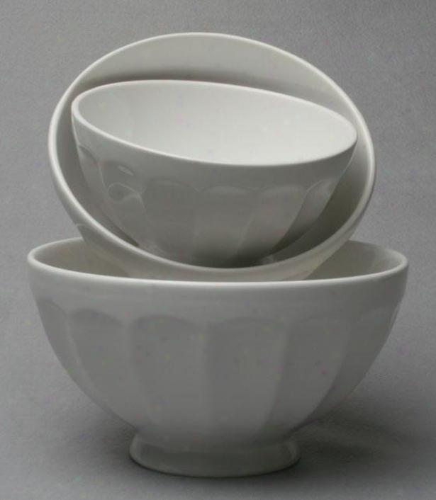 Flea Market Mixing Bowls/set Of 3 - Set Of Three, White