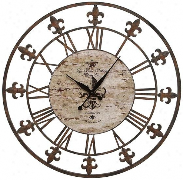 """fleuur De Lis Wall Clock Ii - 36""""d, Antiqued Brown"""