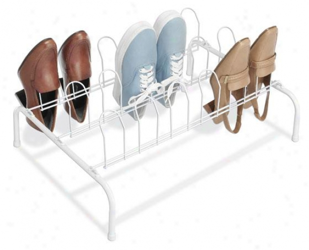 """floor Shoe Rack - 9""""hx22""""wx16""""d, White"""