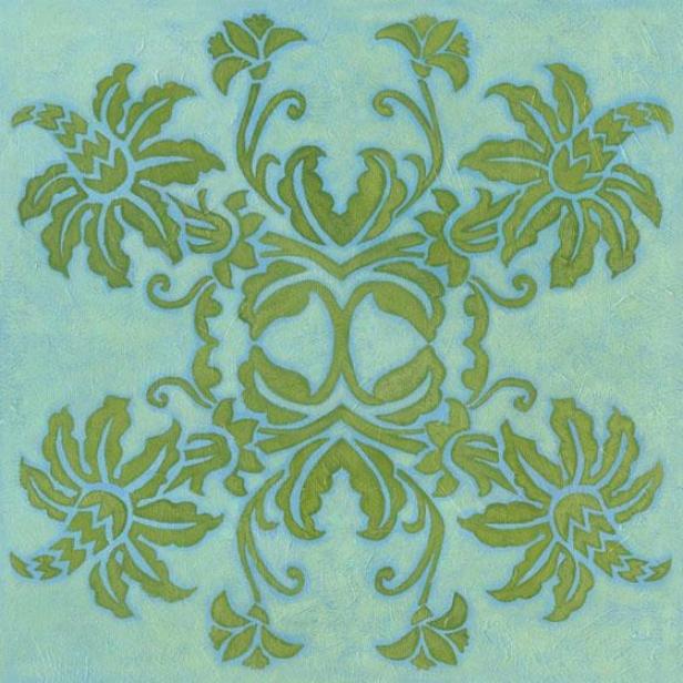 Floral Quadrant Wall Art - I, Blue