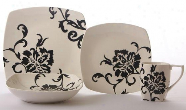 Floral Scroll 16-piiece Dinnerware Set - 16 Pc Set, Black
