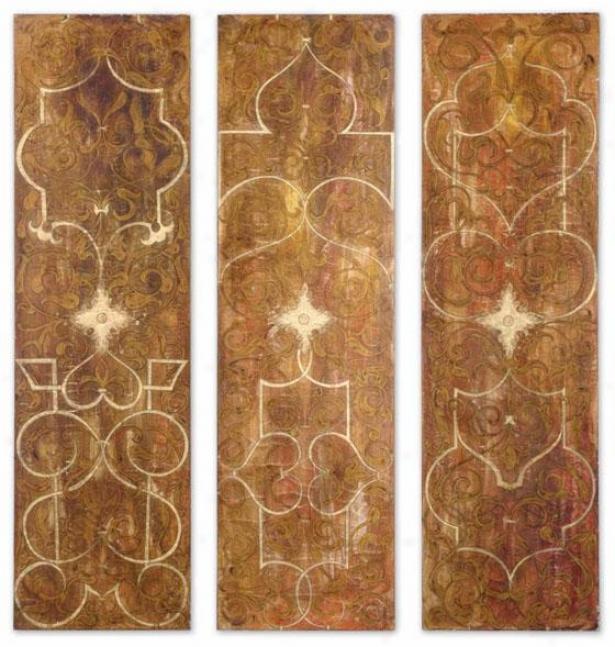 Florenxe Panels - Sett Of 3 - Set Of Three, Gold