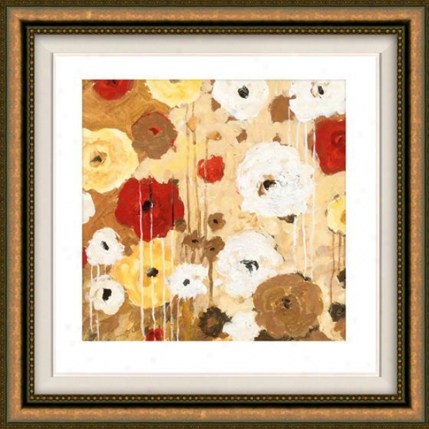 Flower Dance Ii Framed Wall Art - Ii, Floated Gold
