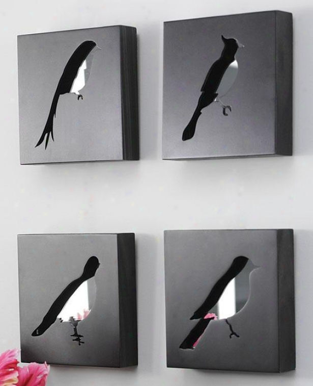 """free Bird Square Mirrored Shadow Boxes - Sett Of 4 - 7""""sq Arrange Of 4, Black"""