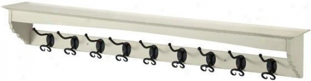French Country Coat Rack - 9-hook, White