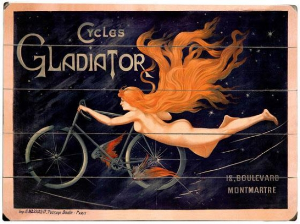 """french Gladiator Bicycles Wooden Sign - 20""""hx14""""w, Black"""