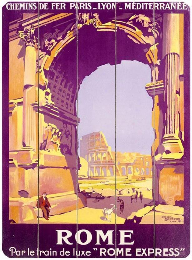 """french Railway Trwvel Rome Express Wooden Sign - 20""""""hx14""""w, Orange/purple"""