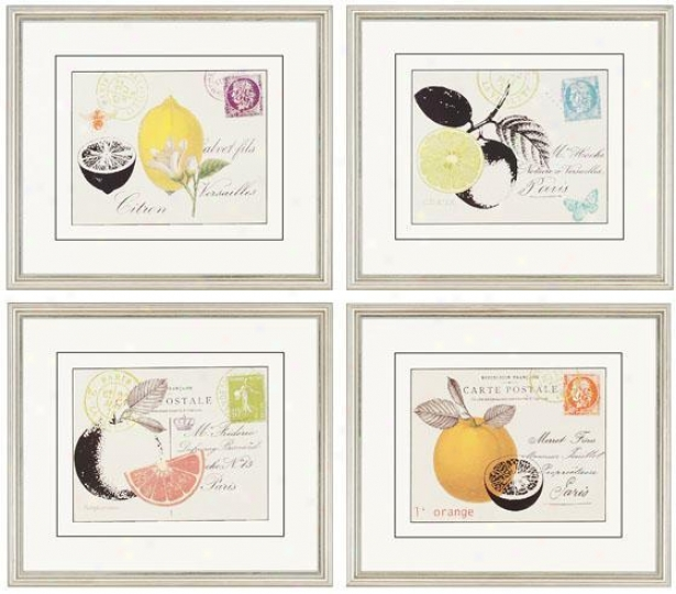 Fruit Letters Wall Art - Set Of 4 - Set Of 4, White