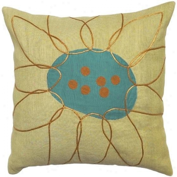 """fusion Pillows - Set Of 2 - 18""""x18"""", Limeade/aqua"""