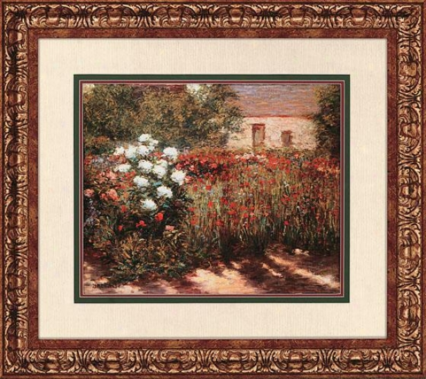 """""""garden At Giverny Wall Art - 31""""""""hx35""""""""w, Red"""""""