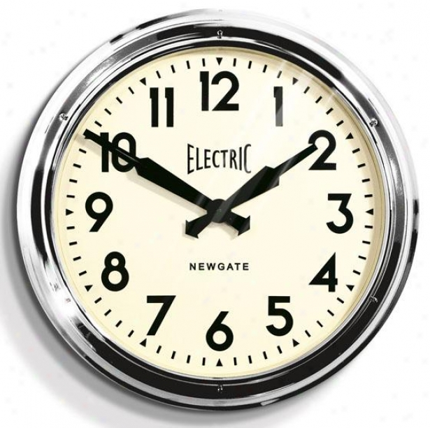 """giant Electric Wall Clock - 23.5""""d, Silver"""