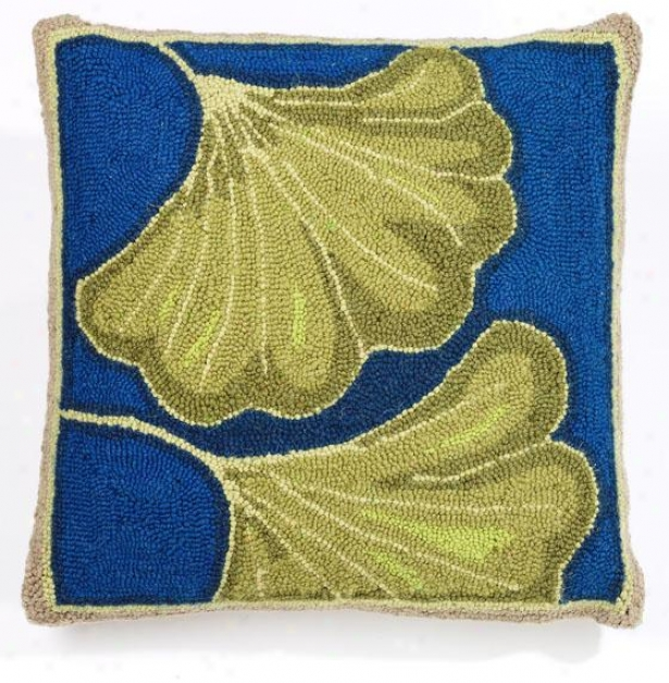 """ginkgo Hook Pillow - 18"""" Square, Teal/blue"""