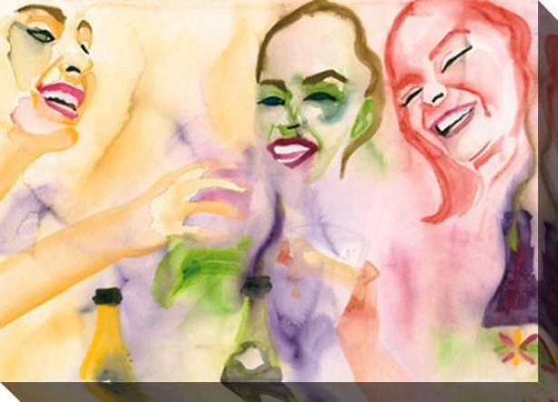 """""""girl's Night Out Canvas Wall Art - 48""""""""hd35""""""""w, Yellow"""""""
