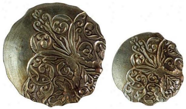 Glow Damask Plates - Set Of 2 - Set Of 2, Metallic