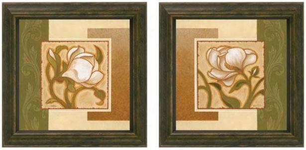 Golden Magnolia Framed Wall Art - Set Of 2 - Set Of Two, Olive/beige