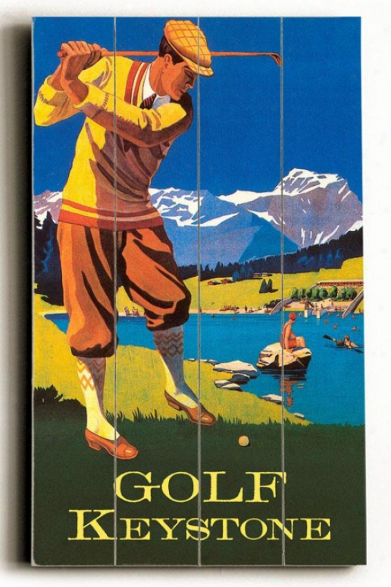 """golf Keystone Wooden Sign - 20""""h X 14""""w, Blue"""