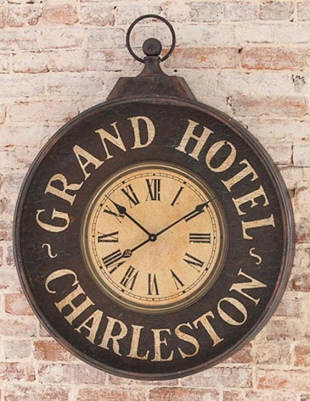 """grand Hotel Charleston Clock - 40""""hx32""""wx4""""d, Black"""