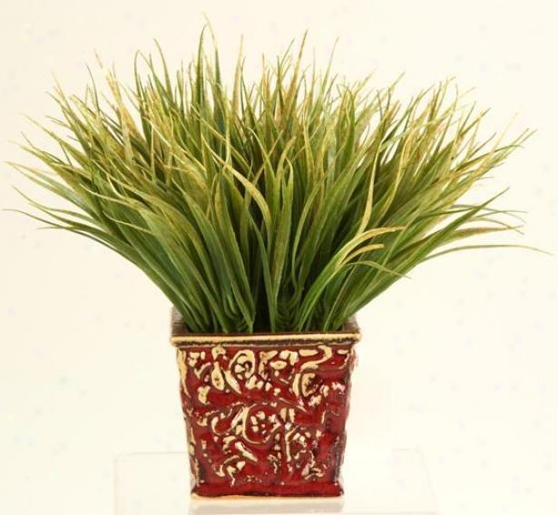 """""""ggrass In Square Ceramic Planter - 10""""""""hx8""""""""w, Green"""""""