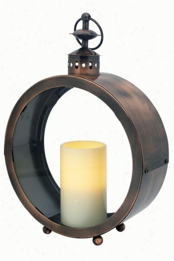 Greenwich Flameless Candle Lantern - 14h X 10w X 3.5, Oil Rub Bronze