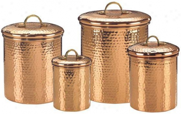 Hammered Copper Canisters - Determined Of 4 - Set Of Foir, Copper