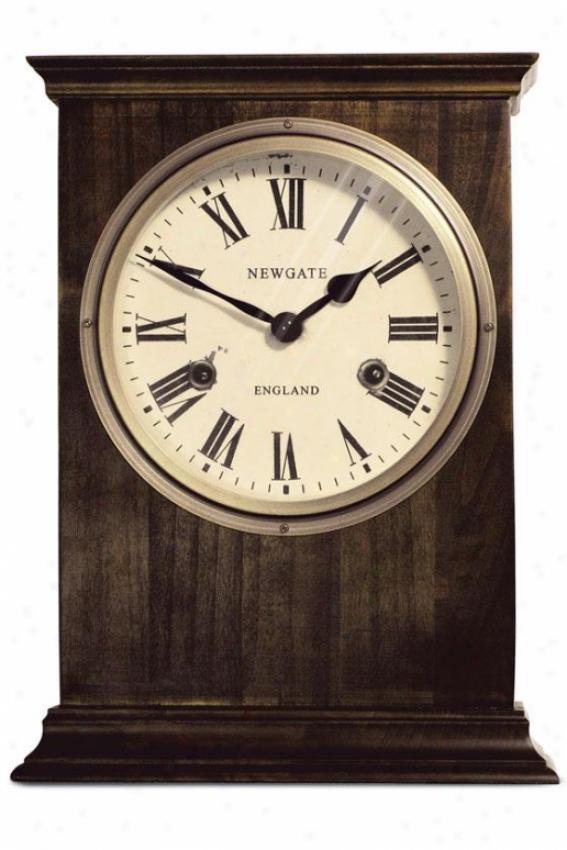 Hampton Mantel-piece Clock - 12h X 9w X 3.5d, Brown Wood