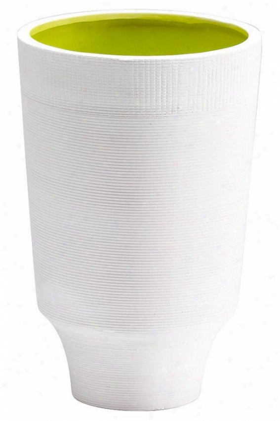 """havilland Vase - Large: 7hx11""""rd, White/lime"""