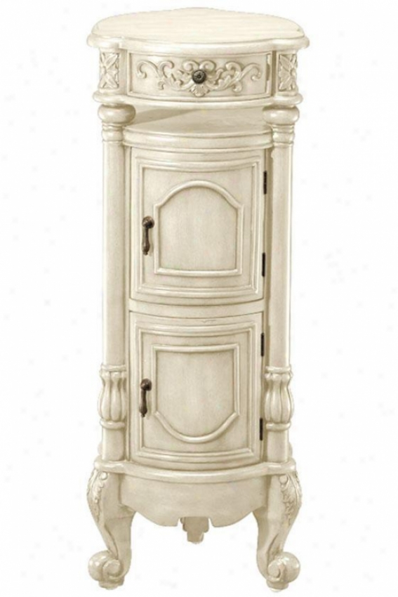 """heirloom Winslow Storage Pedestal - 36""""hx14.5"""" Rnd, Ivory"""