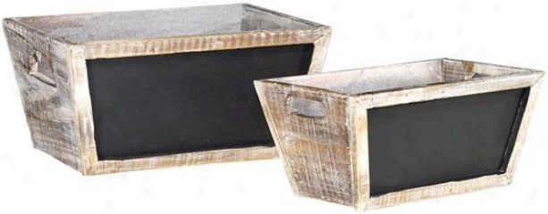 Herb Boxes With Chalkboards - Set Of 2 - Set Of 2, Pure