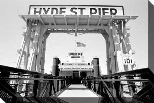 """hyde Street Pier - Sf Canvass Wall Art - 48""""hx32""""w, Black"""