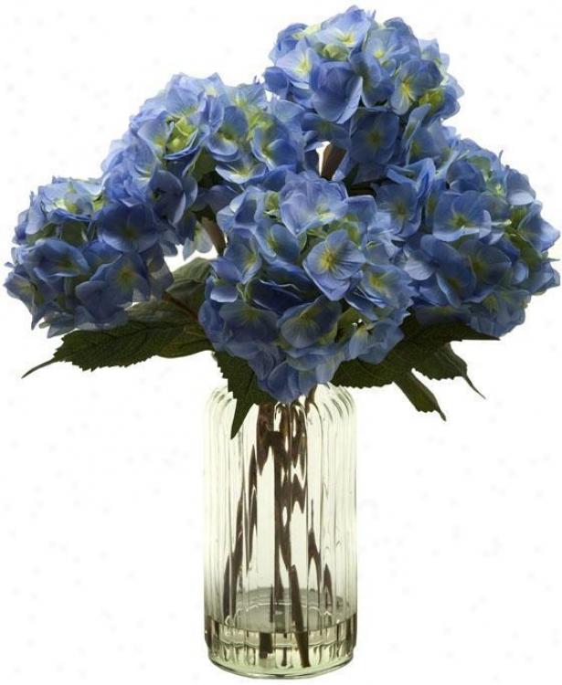 """hydrangeas In Tall Glass Vase - 25""""hx22""""w, Blue"""