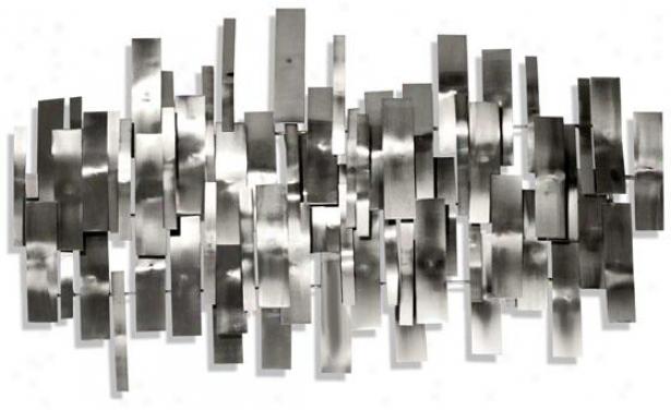 Indulgence Wall Sculpture - 43hx25wx4d, Silver