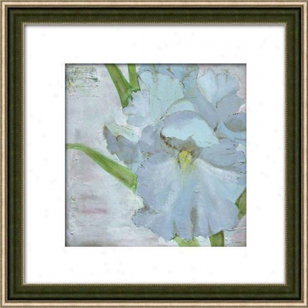 """iris In Periwinkle Framed Wall Art - 29""""hx29""""w, Matted Silver"""