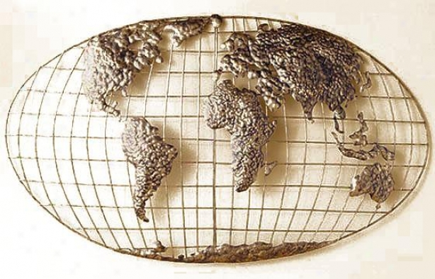 Iron World Map Wall Art I - Iron, Gold