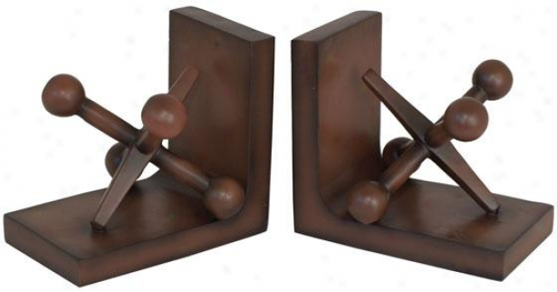 """jacks Bookends - Set Of 2 - 6.5""""hx7""""w Each, Brown"""
