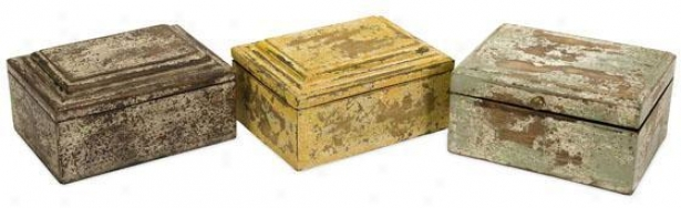 Jasper Boxes - Set Of 3 - Set Of 3, Distressed Wood
